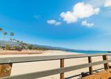 Wooden balustrade by Santa Barbara shore - 196779003