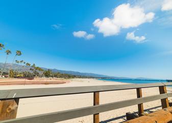 Wooden balustrade by Santa Barbara shore