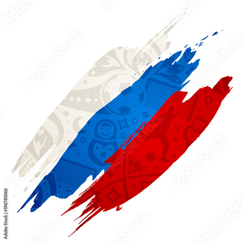 russian flag with soccer pattern