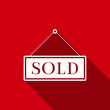 Постер, плакат: Sold sign isolated with long shadow Sold sticker Sold signboard Flat design Vector Illustration