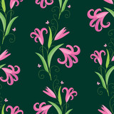 seamless background of the decorative lilies