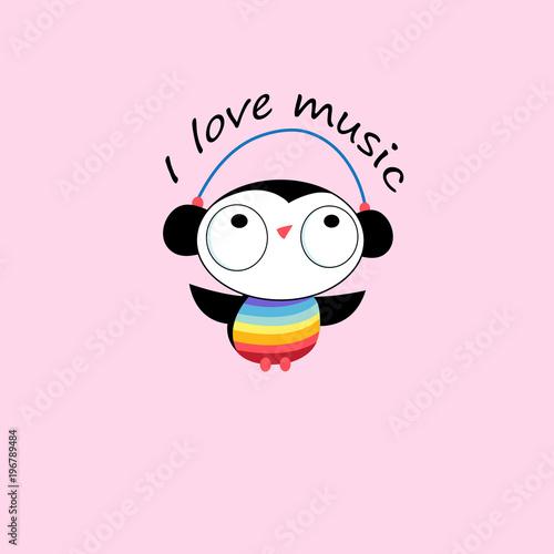 Aluminium Uilen cartoon Vector funny cartoon owl in headphones