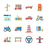 icon Transportation with car, crane, steering wheel, submarine and cone