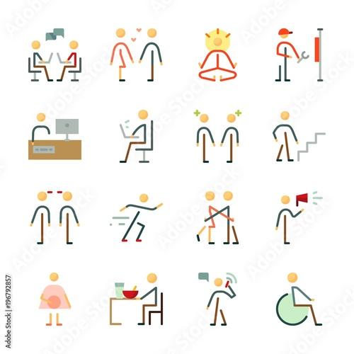 Fototapeta icon Human with protest, hug, yoga, disable and man
