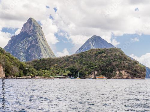 Volcanic peaks in Saint Lucia