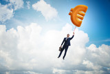 Businessman flying on euro sign inflatable balloon - 196815440
