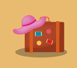 Summer time design with travel suitcase and beach hat over brown background, colorful design vector illustration