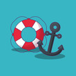 Summer time design with summer float and anchor over blue background, colorful design vector illustration