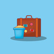 Summer time design with travel suitcase and sand bucket over blue background, colorful design vector illustration