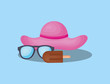 Summer time design with beach hat and sunglasses over blue background, colorful design vector illustration