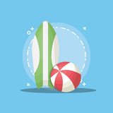 Summer time design with surfboard and ball over blue background, colorful design vector illustration