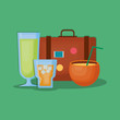 Summer time design with travel suitcase and cocktail drinks over green background, colorful design vector illustration