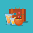 Summer time design with travel suitcase and cocktail drinks over blue background, colorful design vector illustration