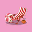 Summer time design with beach chair and summer float over pink background, colorful design vector illustration