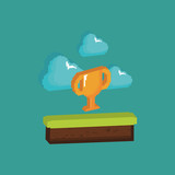 Video game design with pixelated grass block with trophy and clouds over turquoise background, colorful design. vector illustration - 196818600