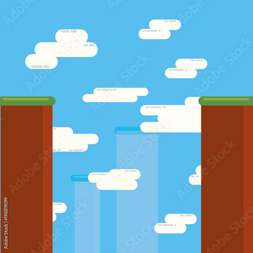 Aluminium Blauw Video game design of landscape with mountains and clouds, colorful design vector illustration