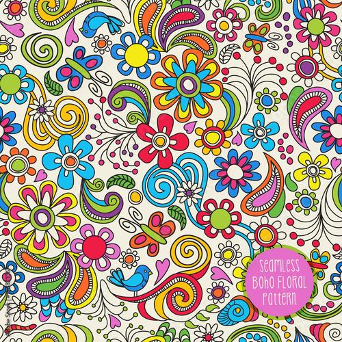 Seamless Boho floral pattern. Vector illustration for backgrounds, papers, fabrics and decor. - 196821067