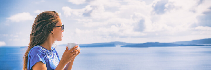 Happy morning woman drinking coffee cup at breakfast hotel view. Smiling Asian girl panoramic banner, summer living. © Maridav