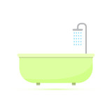 Colored flat icon, vector design with shadow. Bathtub with shower for illustration for bathroom, plumbing and hygiene - 196825678