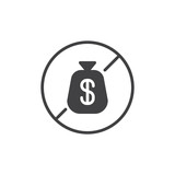 No dollar money bag vector icon. filled flat sign for mobile concept and web design. bankruptcy simple solid icon. Symbol, logo illustration. Pixel perfect vector graphics - 196826013