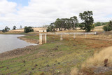 Intake tower and service bridge at Malmsbury Reservoir in Australia