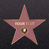 Hollywood star on celebrity fame of walk boukevard. Vector symbol star for iconic movie actor or famous actress template. Gold hollywood star with camera sign on black floor background with texture