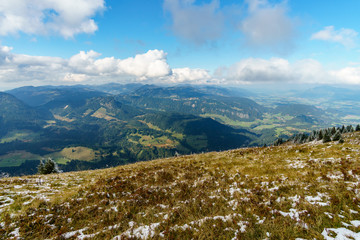 Hiking trail in the mountain landscape of the Allgau Alps on the Fellhorn nice view