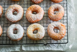 Closeup of homemade sweet donuts with powdered sugar - 196837235