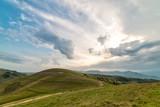 Beautiful mountain landscape with trees and a cloudy morning sky, Dumesti, Salciua, Apuseni, Romania - 196841887