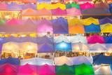 Roof top multiple colour flea market, cityscape background - 196842858