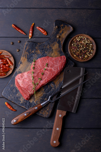 Foto op Canvas Steakhouse Raw beef steak with spice
