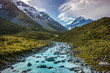 View from Hooker valley track to Aoraki Mount Cook national park, south island, New Zealand show the snow mountain peak, the river and glacier with in the background.