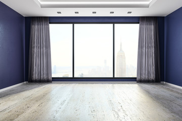 Modern interior with NYC view