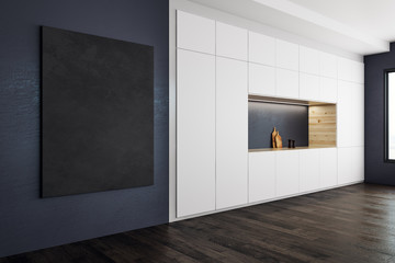 Modern kitchen with blank banner