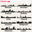 Poland largest city skylines silhouettes - 196853429