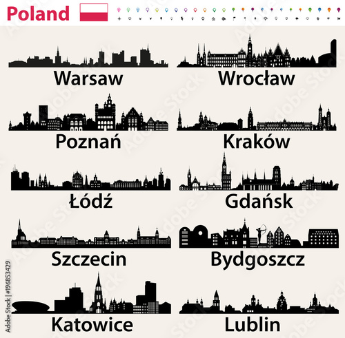 Poland largest city skylines silhouettes © brichuas