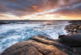 Seascape during sunrise. Beautiful natural landscape on the seashore