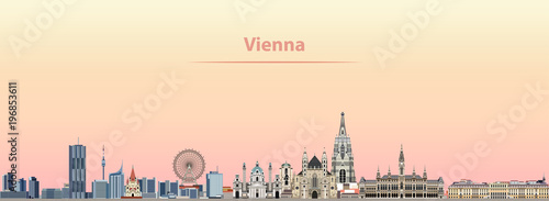 fototapeta na ścianę Vienna vector city skyline at sunrise