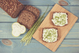 Sandwiches with cottage cheese and chives. - 196856208