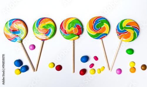 Lollipop candies on white background