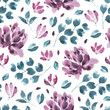 Blossoms collection. Watercolor flower and floral pattern #2 - 196864059
