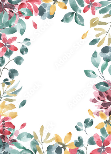 Blossoms collection. Watercolor flower and floral geometric frame #4 - 196864044