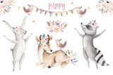 Cute baby giraffe, deer animal nursery mouse and bear isolated illustration for children. Watercolor boho forest cartoon Birthday patry invitation Perfect for nursery posters, patterns - 196865035