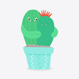 Cactus couple in love. Vector flat illustration. - 196870010