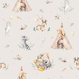 Cute family baby raccon, deer and bunny. animal nursery giraffe, and bear isolated illustration. Watercolor boho raccon drawing nursery seamless pattern. Kids background, nursery print