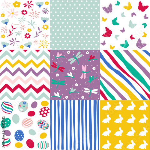 Set of Easter seamless patterns - 196872852
