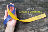 World down syndrome day WDSD March 21  Blue yellow awareness ribbon - 196873298