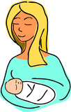 Mother and child cartoon illustration