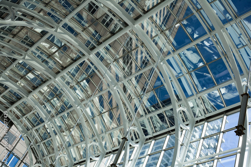 Close-up of transparent ceiling of modern building creating abstract image - 196877429