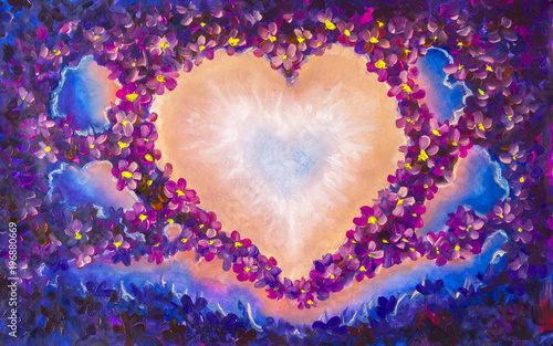Romantic oil painting - abstract heart of beautiful flowers in space. Orange, purple, blue color. Free place for text. Modern philosophy fairy-tale illustration